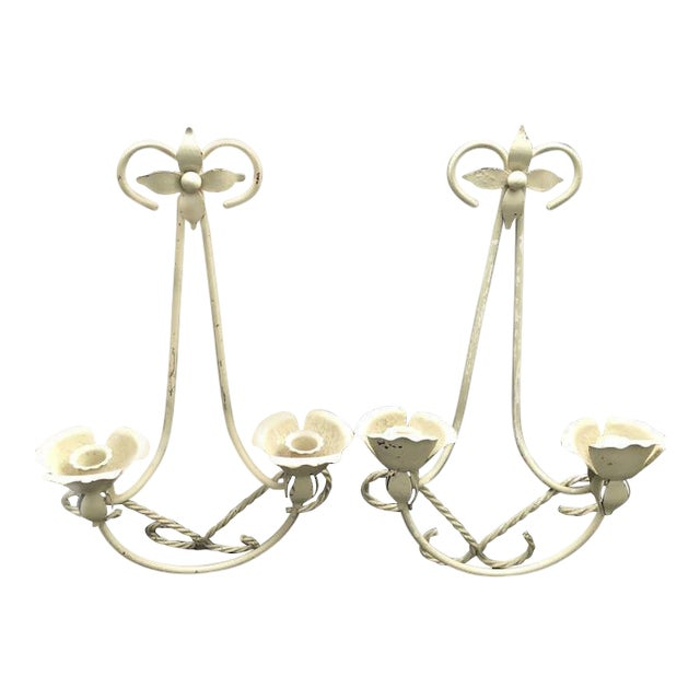 Mid Century Wrought Iron Wall Sconce Candle Holders Set Of 2