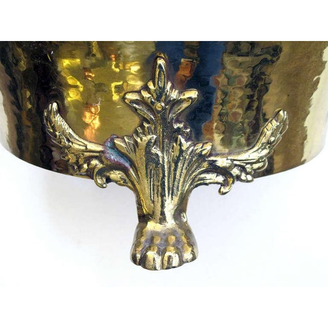 A Rare Imperial Russian Hand-Hammered Brass Jardiniere w/Lion Head Mounts For Sale - Image 4 of 6