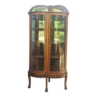 Antique American Oak Double Bowed Glass China Cabinet For Sale