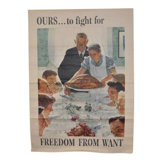 "Norman Rockwell US Government War Propaganda Poster ""Freedom From Want"" c.1943 For Sale"