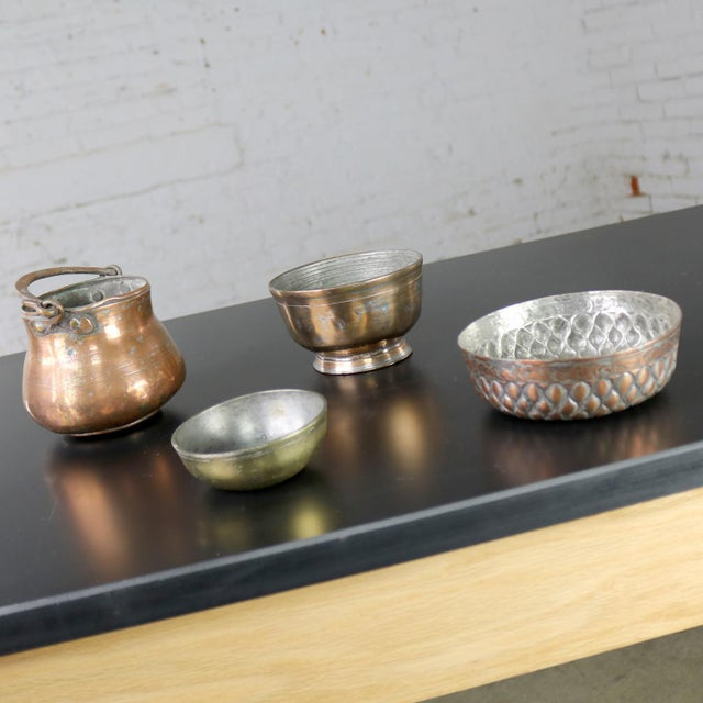 Late 19th Century Antique Hand-forged Turkish Copper and Brass Bowls - Set of 4 For Sale - Image 5 of 13