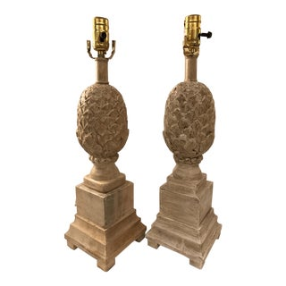 Vintage Currey Carved Wood Pineapple Lamps- a Pair