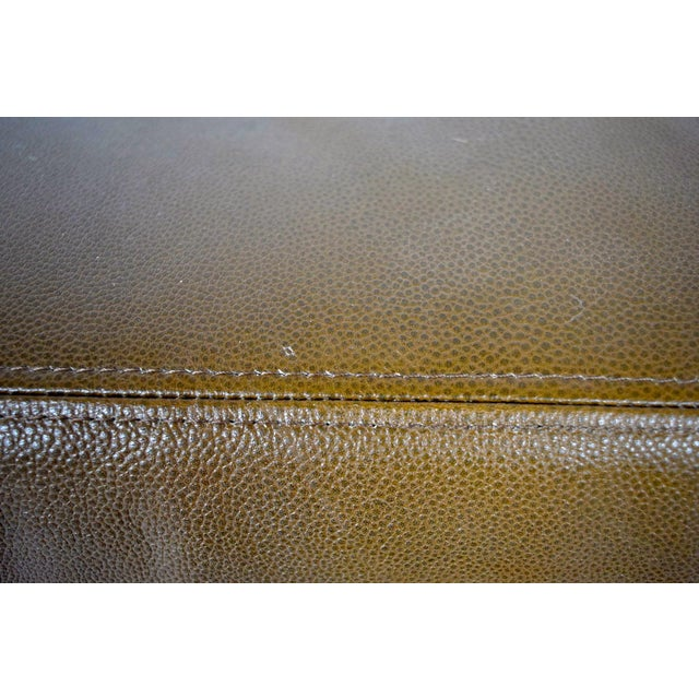 "Tan Custom Bench in Great Plains ""Stingray"" leather with Paris Seam stitching For Sale - Image 8 of 9"