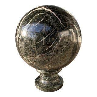 1900s Vintage Solid Black Marble Sphere Statue For Sale