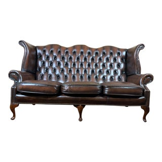 Vintage Mid-Century English Brown Leather Chesterfield Wingback 3 Seat Sofa For Sale