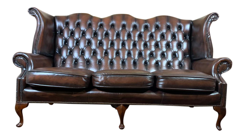 Vintage Mid Century English Brown Leather Chesterfield Wingback 3 Seat Sofa