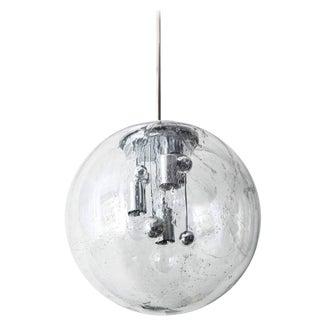 1970s Murano Glass and Chrome Globe Pendant Light For Sale