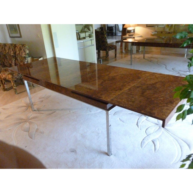 1970's Vintage Milo Baughman Style Burl-wood & Chrome Dining Table For Sale - Image 10 of 13