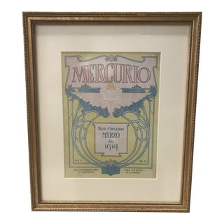 "1950s Vintage French ""Mercurio New Orleans Mario De 1914"" Publication Cover Print For Sale"