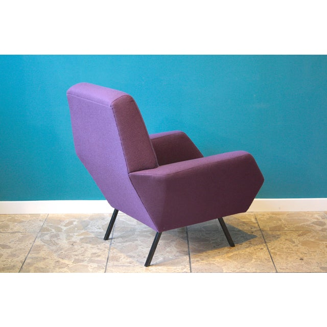 Purple Pair of Reupholstered Italian Vintage Armchairs in Metal and Purple Fabric,1950s For Sale - Image 8 of 9
