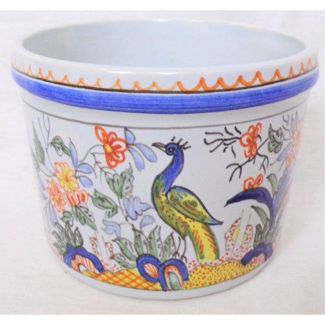 French Provincial Vintage Tiffany & Co. Majolica Hand Painted Cachepot For Sale - Image 3 of 8