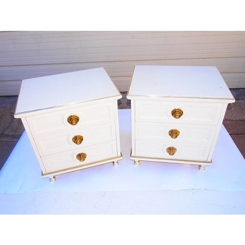Cream 3 Drawer Night Stands - Image 3 of 7