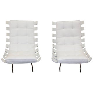 "Pair of 1990's Scala Luxury ""Rib"" Lounge Chairs With New Leather Cushions For Sale"