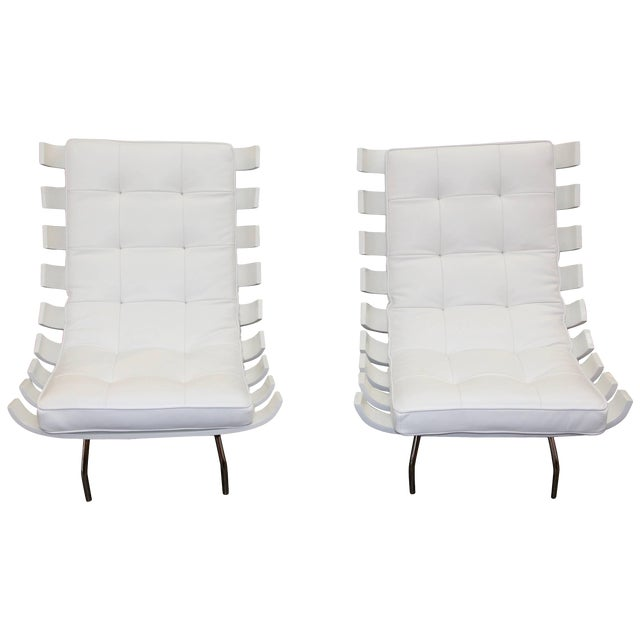 """Pair of 1990's Scala Luxury """"Rib"""" Lounge Chairs With New Leather Cushions For Sale"""