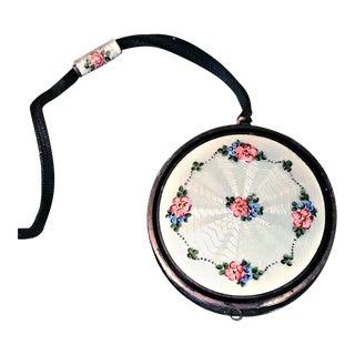 Antique Pale Blue Guilloche Floral Enamel Mirror Powder Compact For Sale