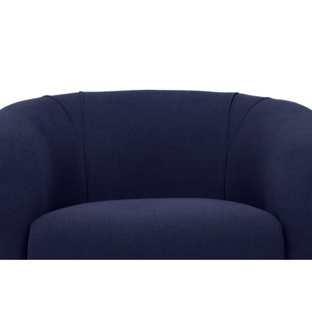 Navy Carl Accent Chair For Sale - Image 4 of 6