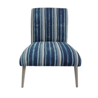 Indigo Striped Fabric Side Chair For Sale