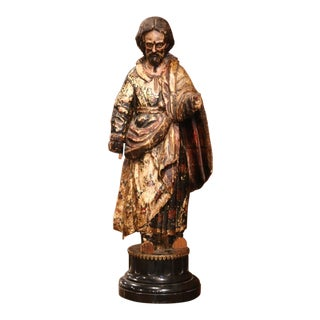 Early 18th Century Italian Carved Polychromed Sculpture of Christ on Marble Base For Sale