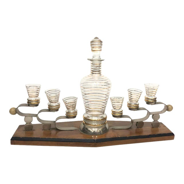 1930s Italian Art Deco Glass and Wood Liquor Set on Stand - Set of 7 For Sale