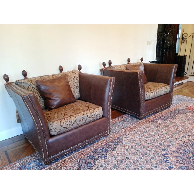 Safavieh Leather Nailhead Accent Chairs - Pair - Image 4 of 8