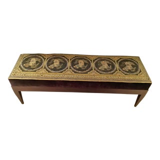 Embroidered Tapestry Upholstered Bench