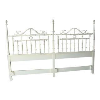 White Faux Bamboo Kingsize Headboard