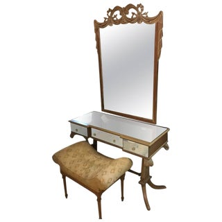 Grosfeld House Style Drapery Form Mirror & Vanity Set