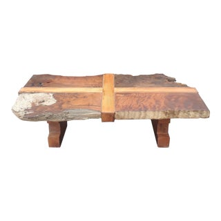 Rustic Original Figured Live Edge Coffee Table For Sale