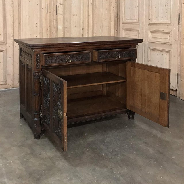 19th Century French Gothic Oak Buffet With Brass Hardware For Sale In Dallas - Image 6 of 13