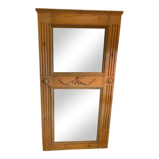 Antique French Hand Carved Oak Trumeau Mirror For Sale