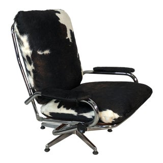 1960s Chrome & Cowhide Reclining Lounge Chair For Sale