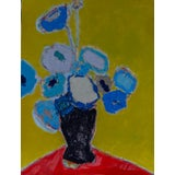 "Image of Bill Tansey "" Blue Blue "" Abstract Floral Oil Painting on Canvas For Sale"