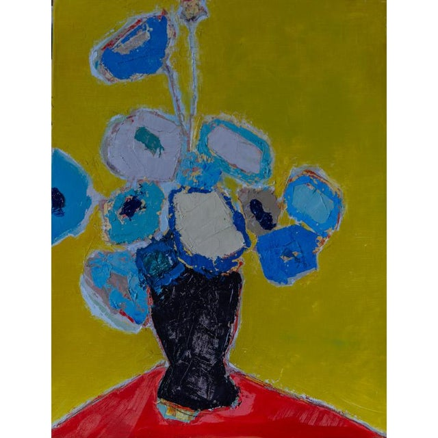 """Bill Tansey """" Blue Blue """" Abstract Floral Oil Painting on Canvas For Sale"""