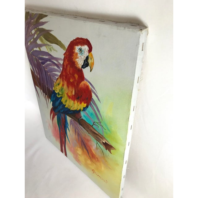 Canvas 1980's Vibrant Stretched Canvas Parrot on a Branch Signed Grimes For Sale - Image 7 of 9
