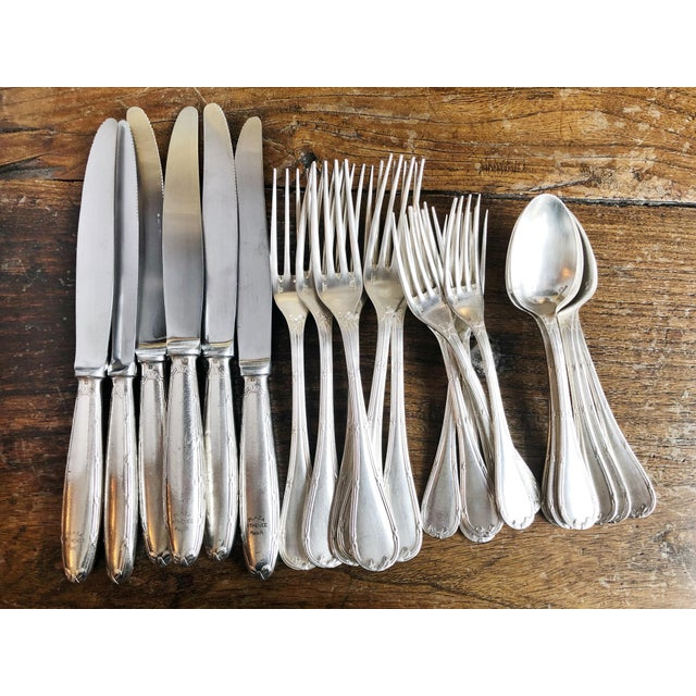 1910s Christofle Silver Flatware Service for 6 From Plaza Athenee Hotel Paris - Set of 24 For Sale - Image 12 of 12