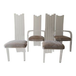 1970s Vintage Hill Manufacturing for Charles Hollis Jones Lucite Chairs- Set of 4 For Sale