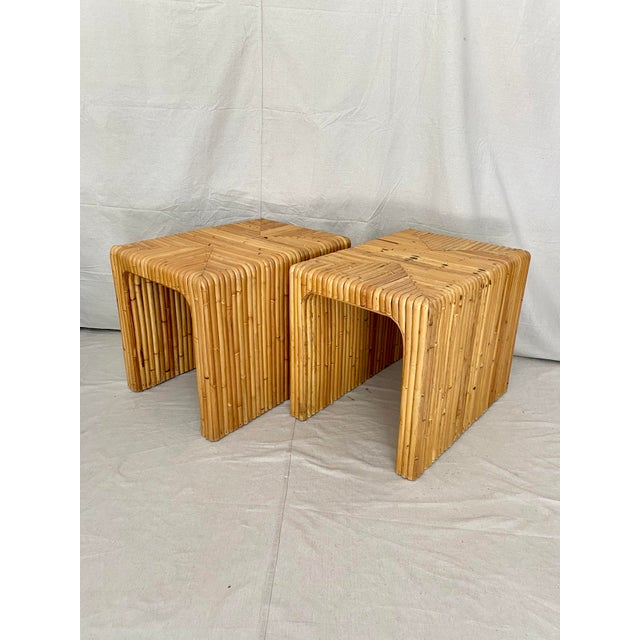 Brown Vintage Split Reed Rattan Waterfall End Tables- a Pair For Sale - Image 8 of 13