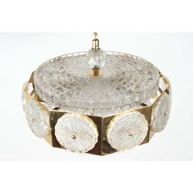 Orrefors Brass Orrefors Brass & Glass Ceiling Light Fixture For Sale - Image 4 of 9
