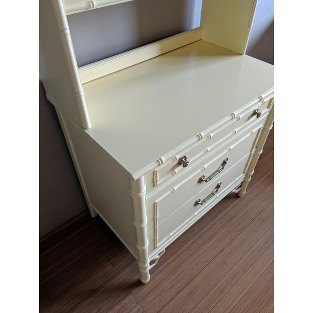 Thomasville Thomasville High Gloss Saffron Faux Bamboo 2 Pc. Bookcase and Three Drawer Chest Set For Sale - Image 4 of 10