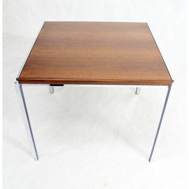 Mid-Century Modern Stow Davis Walnut and Chrome Coffee Table For Sale - Image 10 of 11
