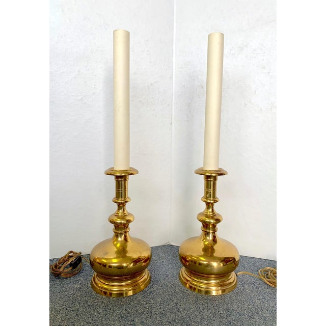 1960s Vintage Brass Bottle Lamps - a Pair For Sale - Image 9 of 9