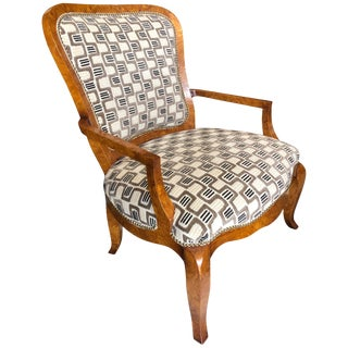 Extra Large American Classical Burlwood Armchair by William Switzer For Sale