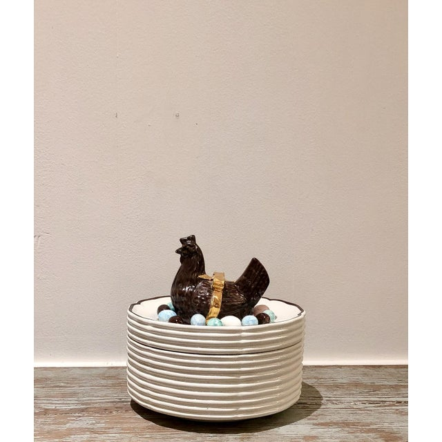 Trompe l'Oeil Chicken and Eggs Covered Box, Italy For Sale - Image 10 of 10