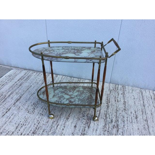 1950s Italian Brass & Walnut Bar Cart - Image 3 of 11