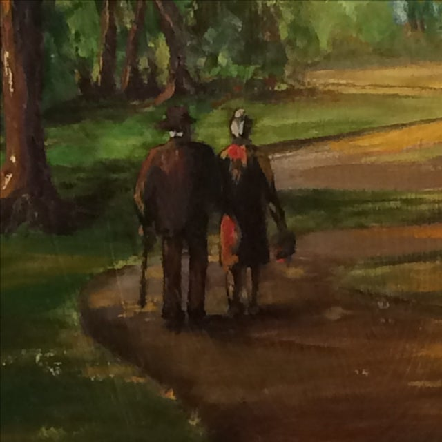 Couple Walking in Park Original Oil Painting - Image 3 of 7