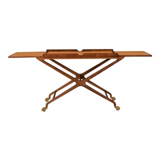 1960's Mid Century Expandable Walnut and Cork Top Bar Cart by Cesare Lacca For Sale