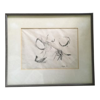 1960s Vintage Thomas Merton Famed Monk, Writer, Theologian Abstract Calligraphic Painting For Sale
