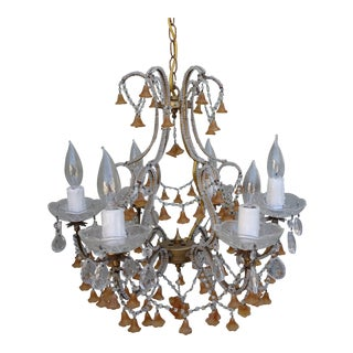 Six-Light Italian Beaded Murano Crystal Chandelier With Glass Bells For Sale