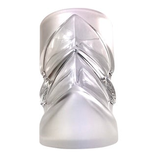 Thick Walled Chevron Cylinder Frosted Glass Vase For Sale