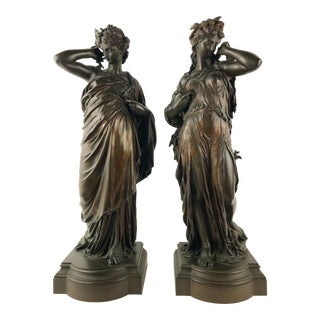 """H. Dumaige """"The Land and the Sea"""" Women Bronze Sculptures - a Pair For Sale"""